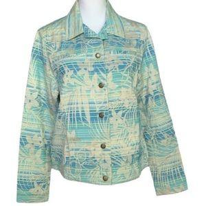 Caribbean Joe Jacket Hawaiian Floral Blue Green L